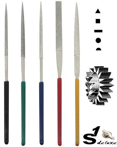5 tlg. Diamant Kleinfeilen-Set S1 Deluxe DI-100 Miniature