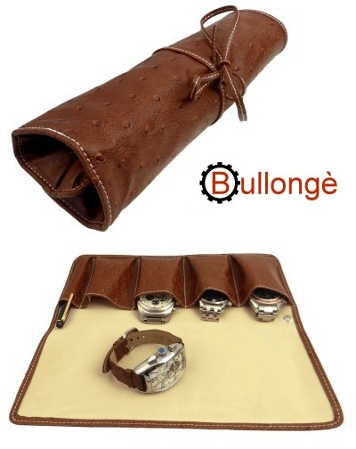 Uhrenrolle BULLONGÈ LUXOWA PU Strauß-Leder braun