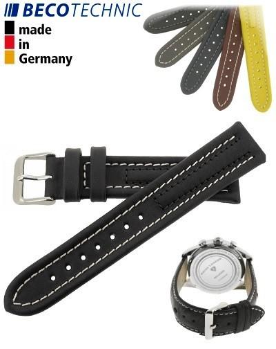 Armband Arizona Kalb 24mm schwarz / Edelstahl