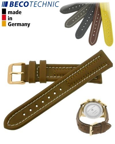 Armband Arizona Kalb 22mm cognac / gold