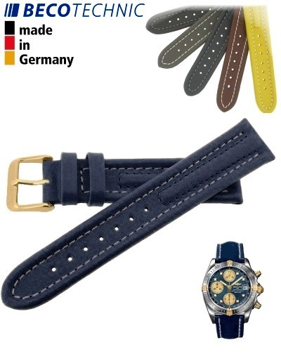 Lederarmband Arizona Kalb 18mm blau / gold