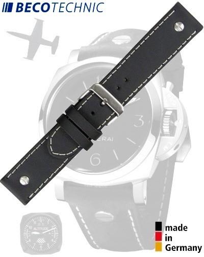 Lederarmband Beco Technic Chrono-Pilot schwarz 22mm