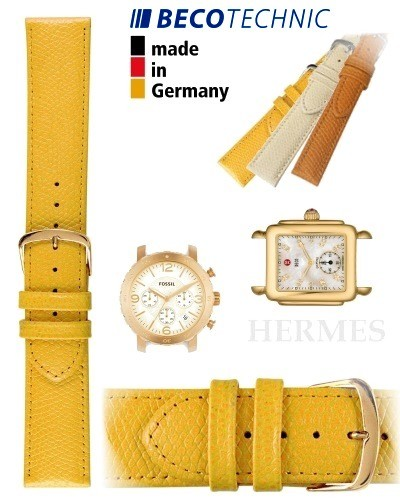 Beco Technic HERMES Uhrenarmband gelb 16mm golden