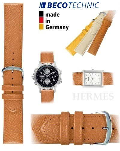 Beco Technic HERMES Uhren-Lederarmband honig stahl 16