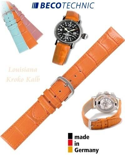 Uhrenarmband Louisiana Kroko Kalb orange 18mm