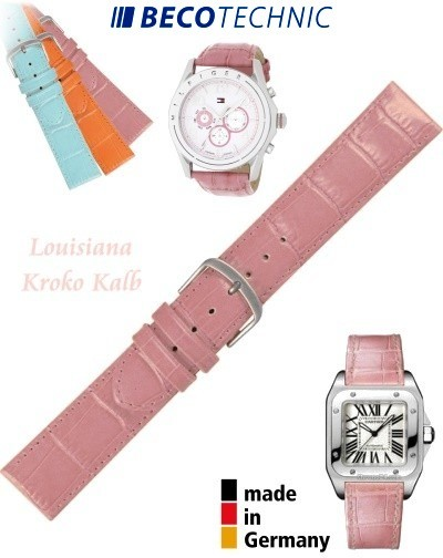 Uhrenarmband Louisiana Kroko Kalb rosa 16mm