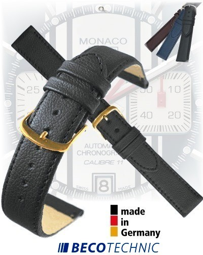 Uhrenarmband Leder BLACK NAPPA gold 14mm