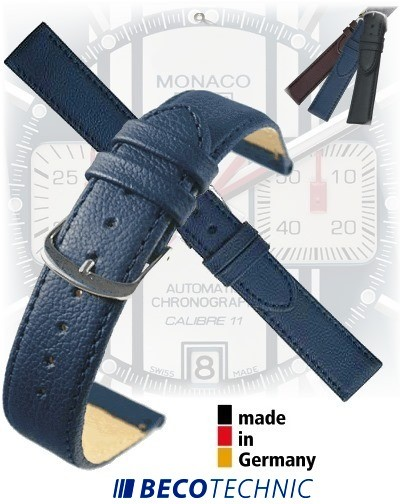 Uhrenarmband Leder NAPPA mitternachtsblau 24 stahl