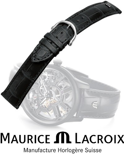 MAURICE LACROIX Lederband LOUISIANA black/stahl 16