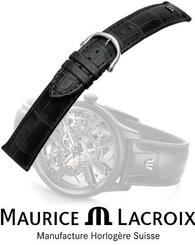 MAURICE LACROIX Lederband LOUISIANA black/stahl 18