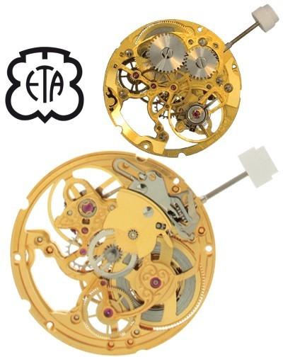 Skelettiertes schweizer Uhrwerk ETA 2801-2