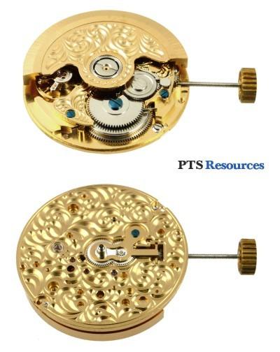 Automatisches Uhrwerk PTS 2624-B vergoldet mit Gravur