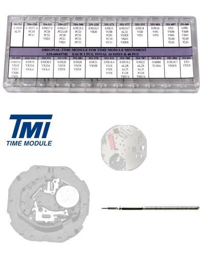 Set mit 48 original TMI Seiko Aufzugswellen für Uhrwerke