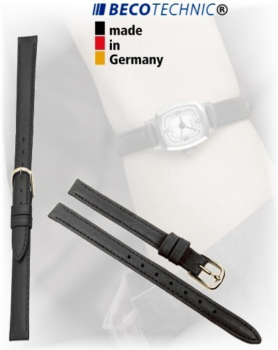 Lederarmband Beco Technic Polo 8mm schwarz gold