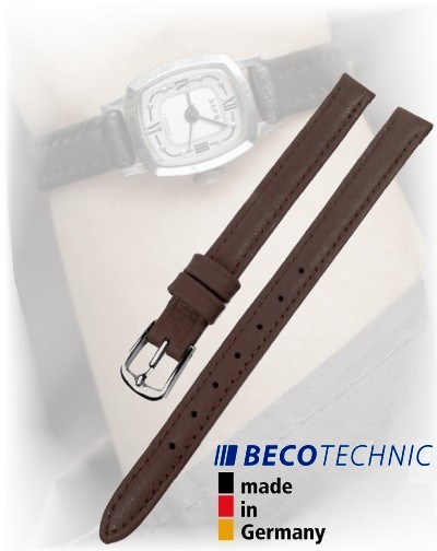 Lederarmband Beco Technic Polo 10mm dunkelbraun stahl