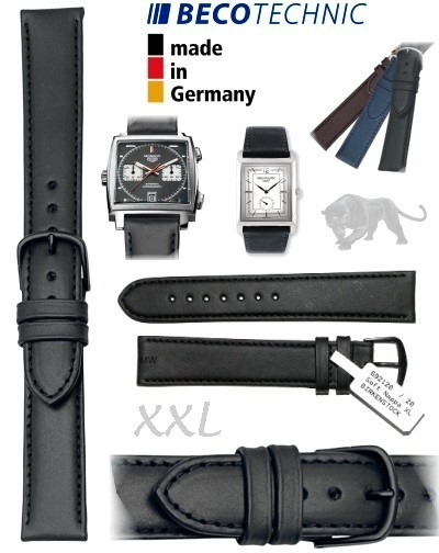 Uhrenarmband Leder ALL BLACK NAPPA 16mm XXL