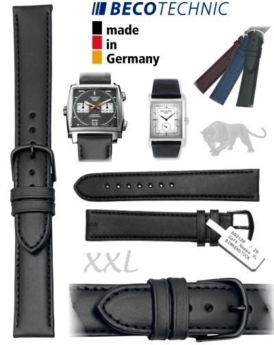 Uhrenarmband Leder ALL BLACK NAPPA 18mm XXL