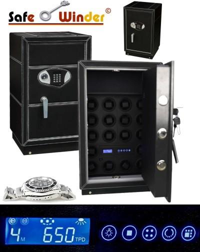Safewinder® 18 DELUXE BLACK Uhrenbeweger & Safe